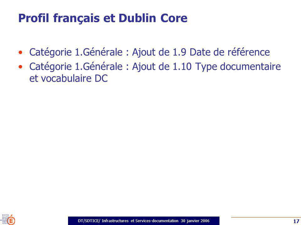 DT/SDTICE/ Infrastructures et Services-documentation 30 janvier 2006 17 Profil français et Dublin Core Catégorie 1.Générale : Ajout de 1.9 Date de réf