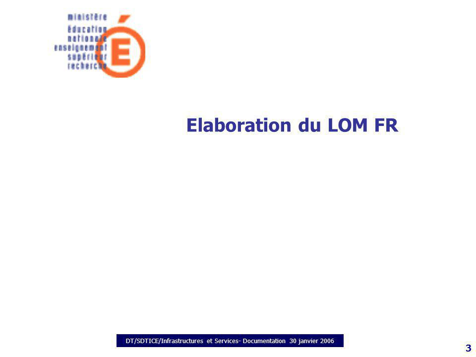 DT/SDTICE/Infrastructures et Services- Documentation 30 janvier 2006 3 Elaboration du LOM FR
