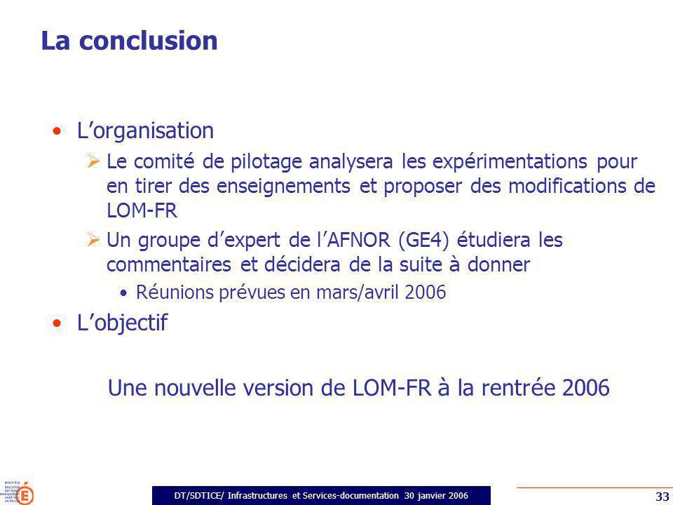 DT/SDTICE/ Infrastructures et Services-documentation 30 janvier 2006 33 La conclusion Lorganisation Le comit é de pilotage analysera les exp é rimenta