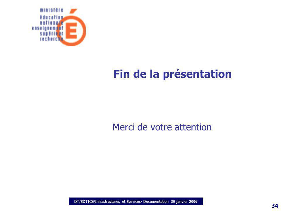 DT/SDTICE/Infrastructures et Services- Documentation 30 janvier 2006 34 Fin de la présentation Merci de votre attention