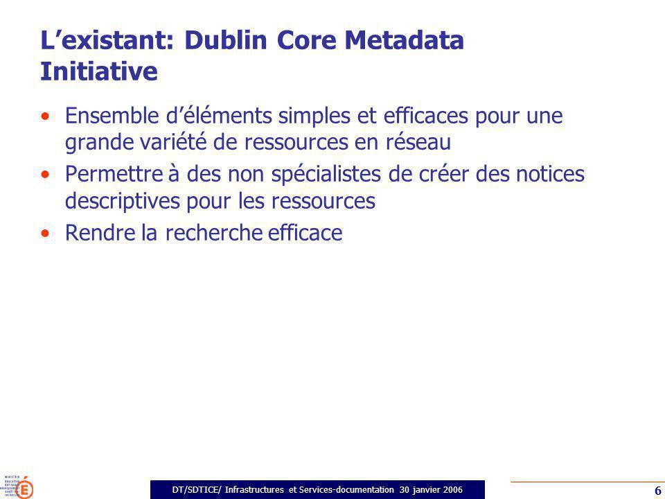DT/SDTICE/ Infrastructures et Services-documentation 30 janvier 2006 17 Profil français et Dublin Core Catégorie 1.Générale : Ajout de 1.9 Date de référence Catégorie 1.Générale : Ajout de 1.10 Type documentaire et vocabulaire DC