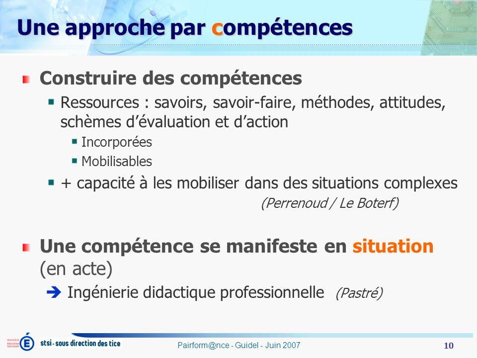 10 Pairform@nce - Guidel - Juin 2007 Une approche par compétences Construire des compétences Ressources : savoirs, savoir-faire, méthodes, attitudes,