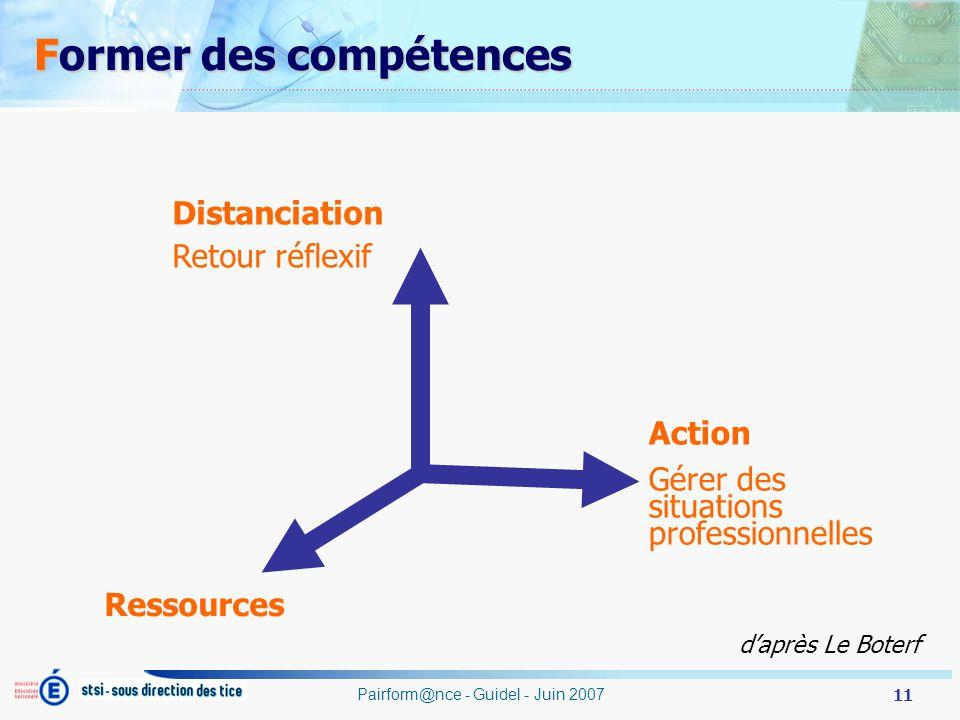 11 Pairform@nce - Guidel - Juin 2007 Action Gérer des situations professionnelles Ressources Distanciation Retour réflexif daprès Le Boterf Former des compétences