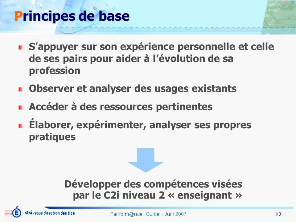 12 Pairform@nce - Guidel - Juin 2007 Principes de base Principes de base Sappuyer sur son expérience personnelle et celle de ses pairs pour aider à lé