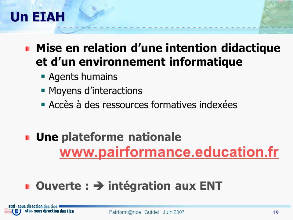 19 Pairform@nce - Guidel - Juin 2007 Un EIAH Mise en relation dune intention didactique et dun environnement informatique Agents humains Moyens dinter