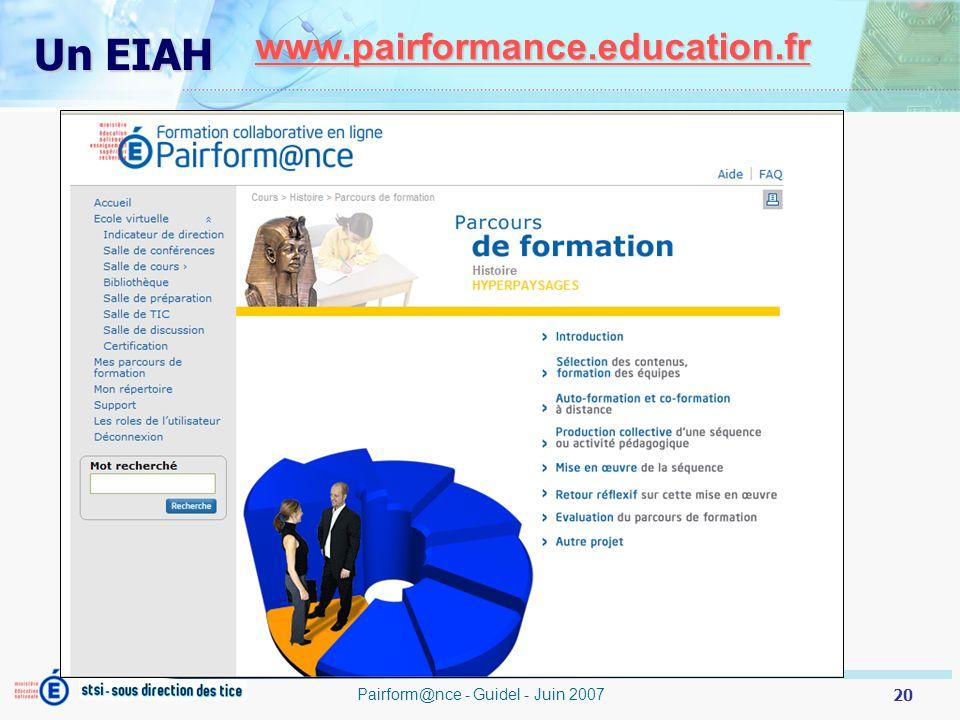 20 Pairform@nce - Guidel - Juin 2007 www.pairformance.education.fr Un EIAH