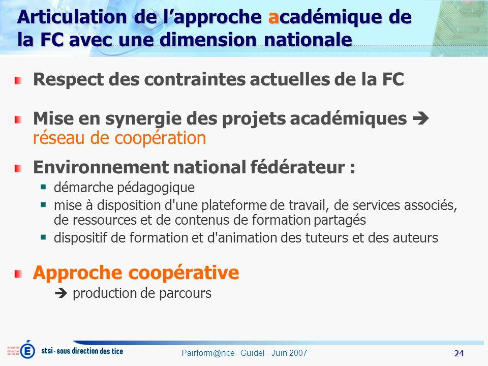 24 Pairform@nce - Guidel - Juin 2007 Articulation de lapproche académique de la FC avec une dimension nationale Respect des contraintes actuelles de l