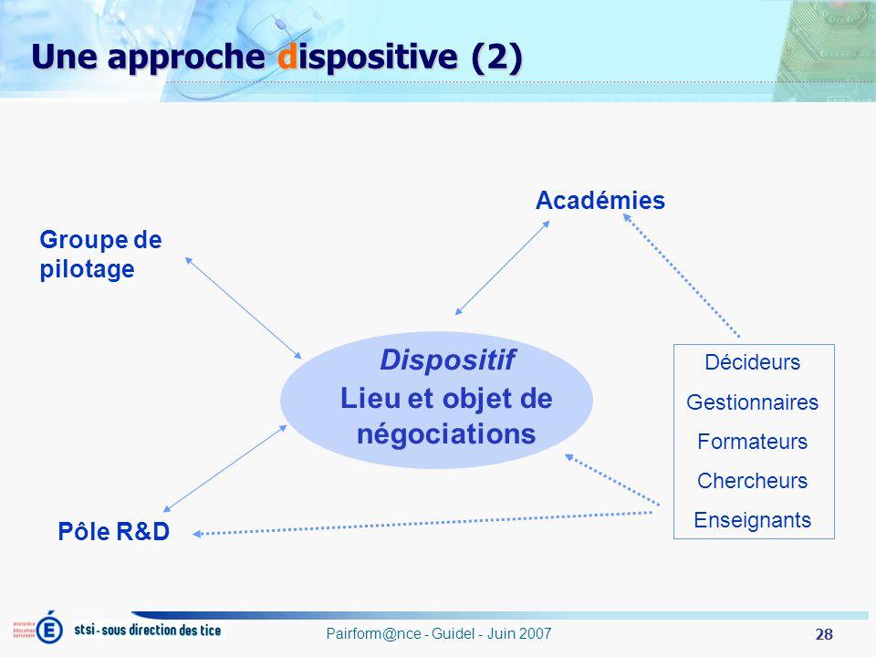 28 Pairform@nce - Guidel - Juin 2007 Une approche dispositive (2) Dispositif Lieu et objet de négociations Groupe de pilotage Académies Pôle R&D Décideurs Gestionnaires Formateurs Chercheurs Enseignants