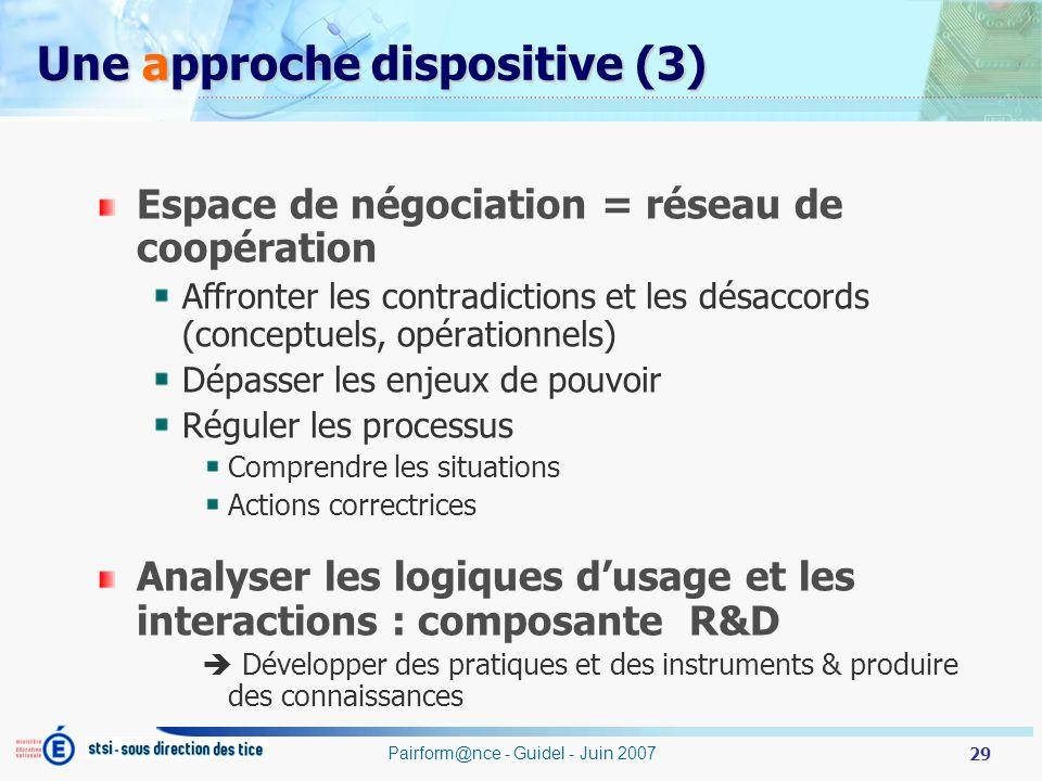 29 Pairform@nce - Guidel - Juin 2007 Une approche dispositive (3) Espace de négociation = réseau de coopération Affronter les contradictions et les dé