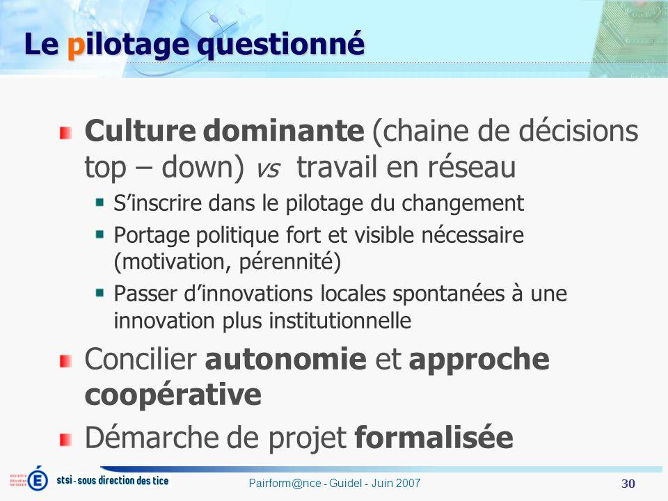 30 Pairform@nce - Guidel - Juin 2007 Le pilotage questionné Culture dominante (chaine de décisions top – down) vs travail en réseau Sinscrire dans le