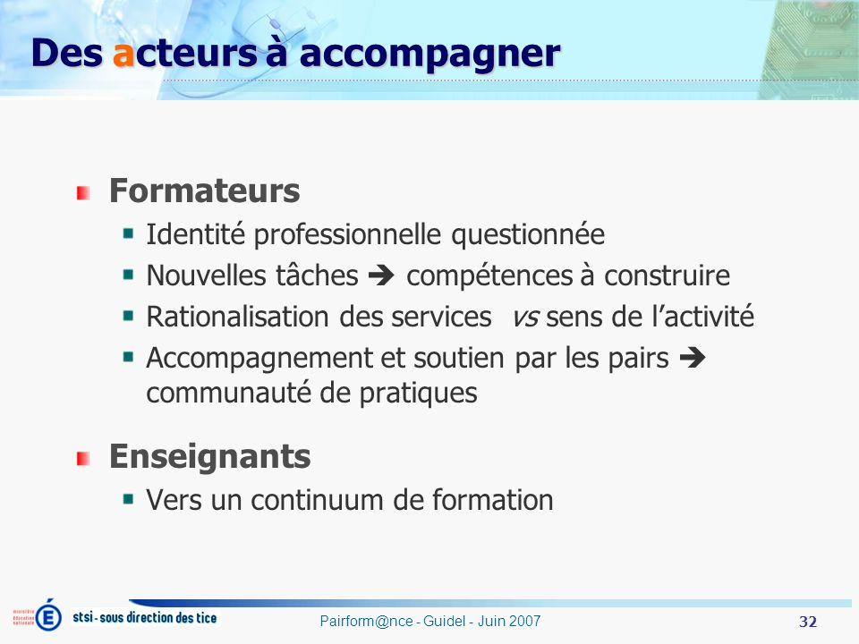 32 Pairform@nce - Guidel - Juin 2007 Des acteurs à accompagner Formateurs Identité professionnelle questionnée Nouvelles tâches compétences à construi