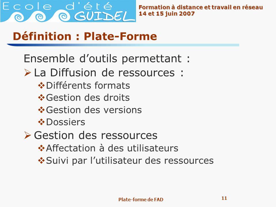 11 Formation à distance et travail en réseau 14 et 15 juin 2007 Plate-forme de FAD Définition : Plate-Forme Ensemble doutils permettant : La Diffusion