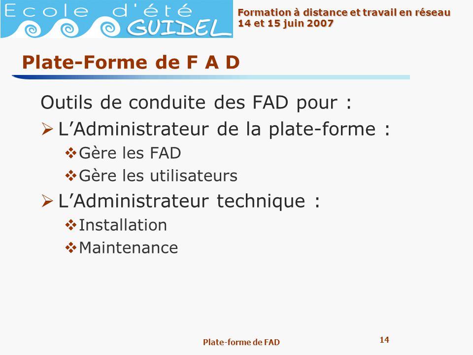 14 Formation à distance et travail en réseau 14 et 15 juin 2007 Plate-forme de FAD Plate-Forme de F A D Outils de conduite des FAD pour : LAdministrat