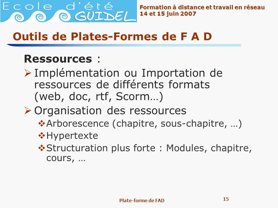15 Formation à distance et travail en réseau 14 et 15 juin 2007 Plate-forme de FAD Outils de Plates-Formes de F A D Ressources : Implémentation ou Imp