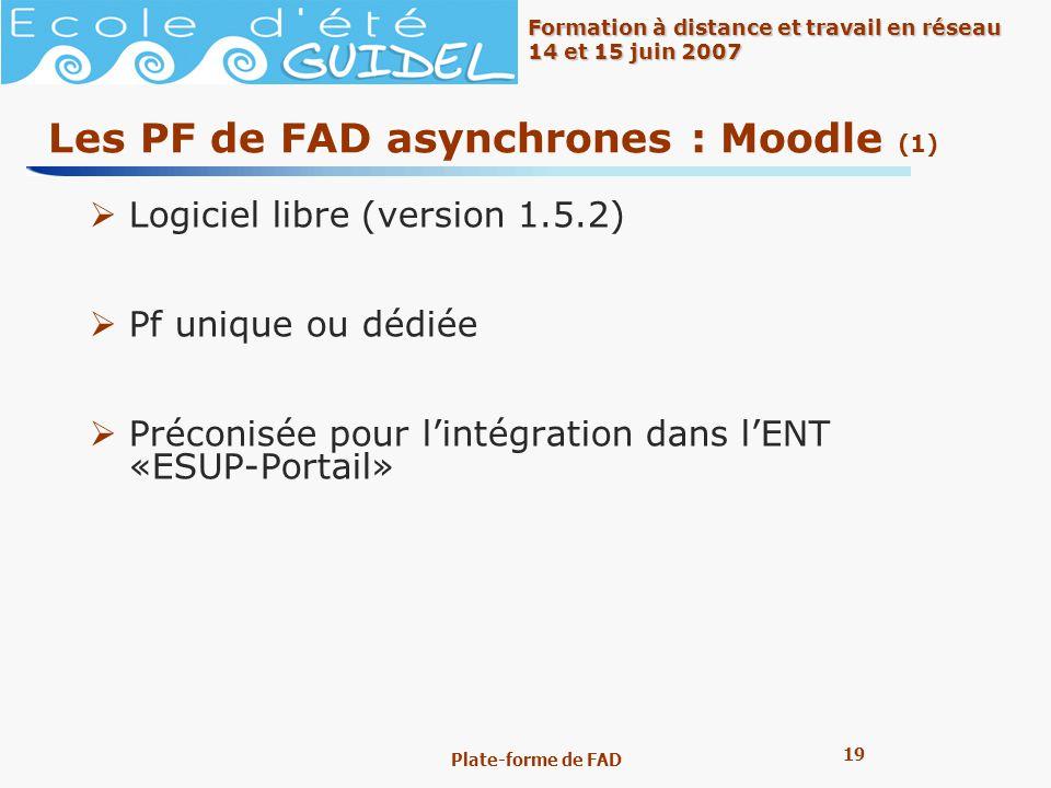 19 Formation à distance et travail en réseau 14 et 15 juin 2007 Plate-forme de FAD Les PF de FAD asynchrones : Moodle (1) Logiciel libre (version 1.5.