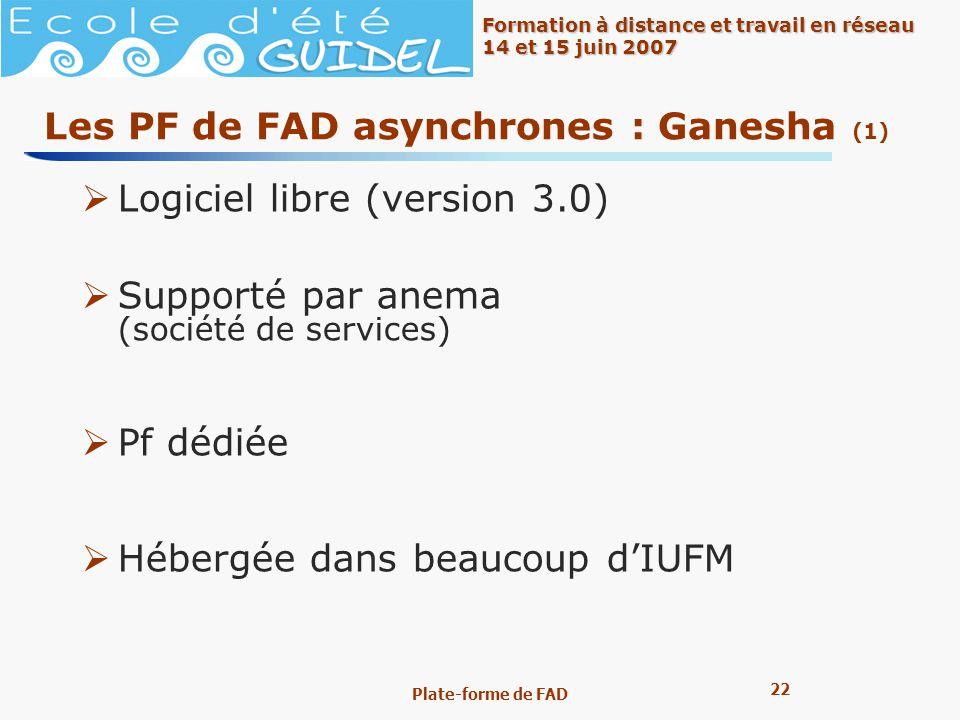 22 Formation à distance et travail en réseau 14 et 15 juin 2007 Plate-forme de FAD Les PF de FAD asynchrones : Ganesha (1) Logiciel libre (version 3.0