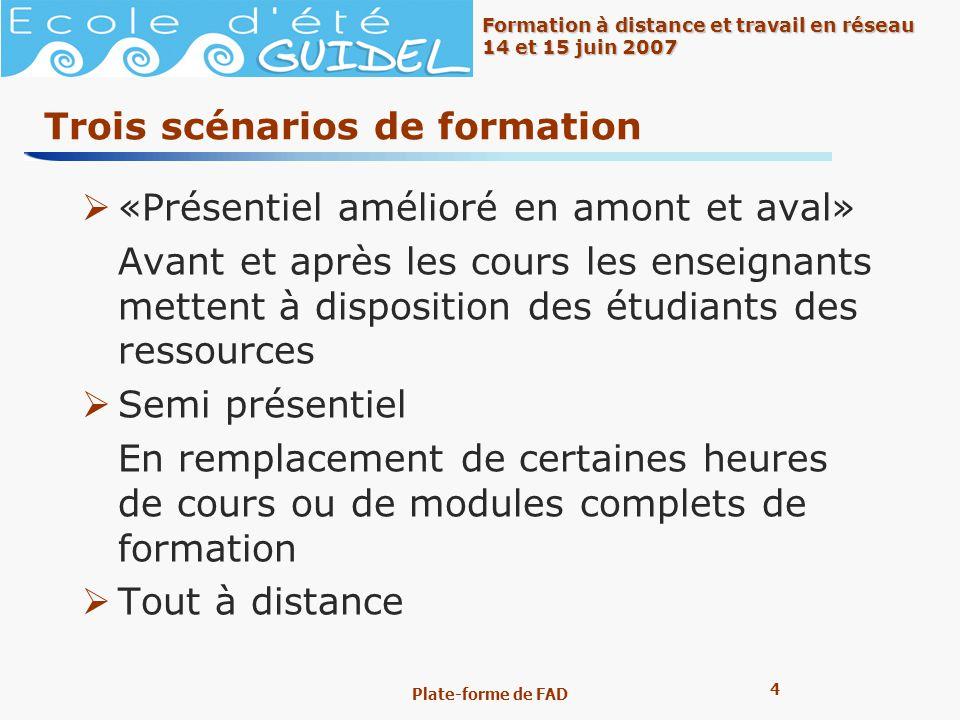 4 4 Formation à distance et travail en réseau 14 et 15 juin 2007 Plate-forme de FAD Trois scénarios de formation «Présentiel amélioré en amont et aval