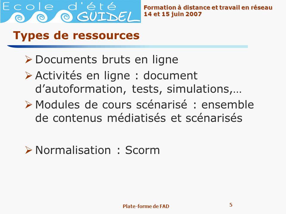 5 5 Formation à distance et travail en réseau 14 et 15 juin 2007 Plate-forme de FAD Types de ressources Documents bruts en ligne Activités en ligne :