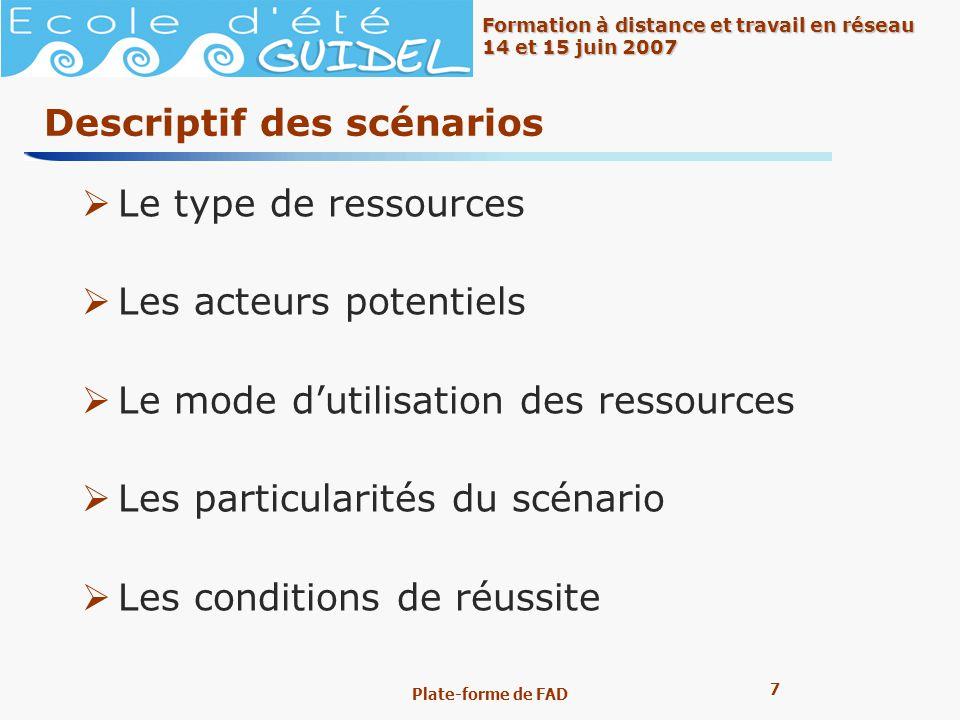 7 7 Formation à distance et travail en réseau 14 et 15 juin 2007 Plate-forme de FAD Descriptif des scénarios Le type de ressources Les acteurs potenti