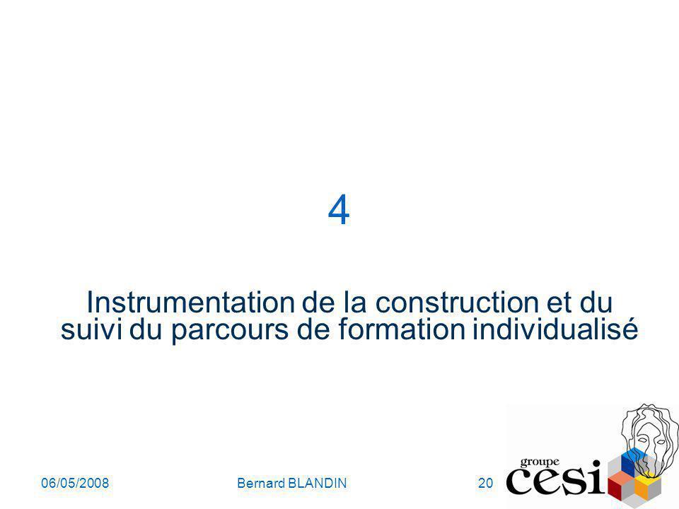 06/05/2008Bernard BLANDIN20 4 Instrumentation de la construction et du suivi du parcours de formation individualisé
