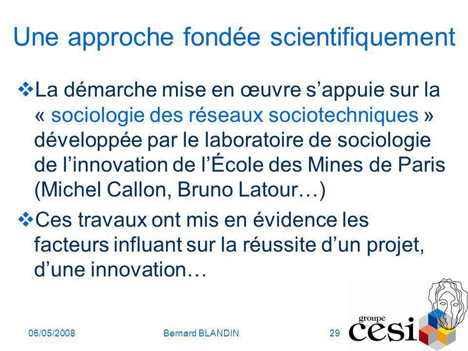 06/05/2008Bernard BLANDIN29 Une approche fondée scientifiquement La démarche mise en œuvre sappuie sur la « sociologie des réseaux sociotechniques » d