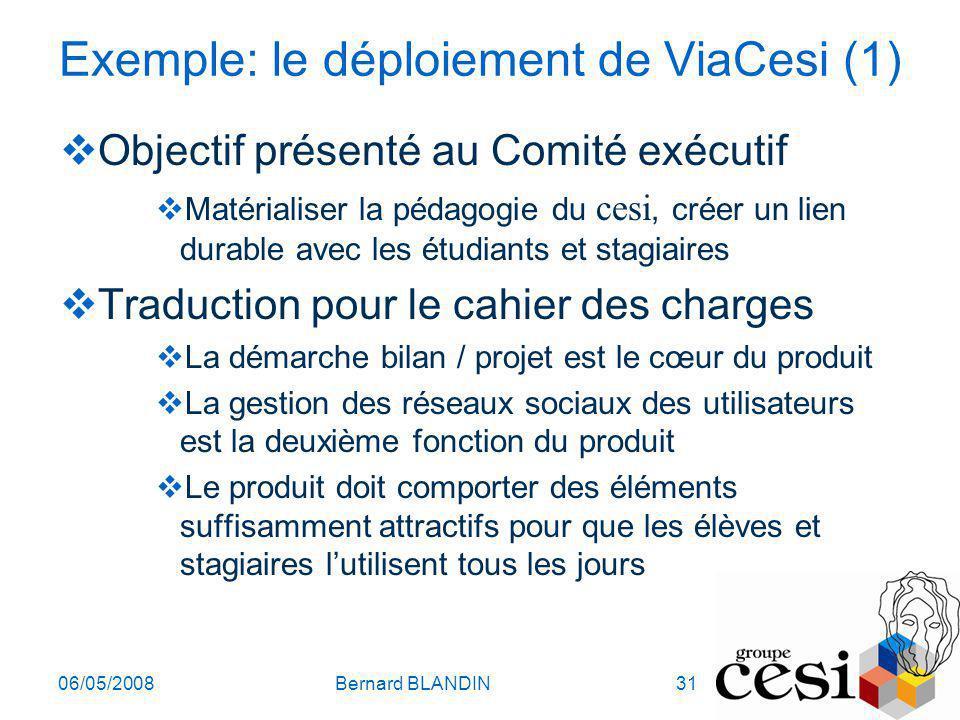 06/05/2008Bernard BLANDIN31 Exemple: le déploiement de ViaCesi (1) Objectif présenté au Comité exécutif Matérialiser la pédagogie du cesi, créer un li