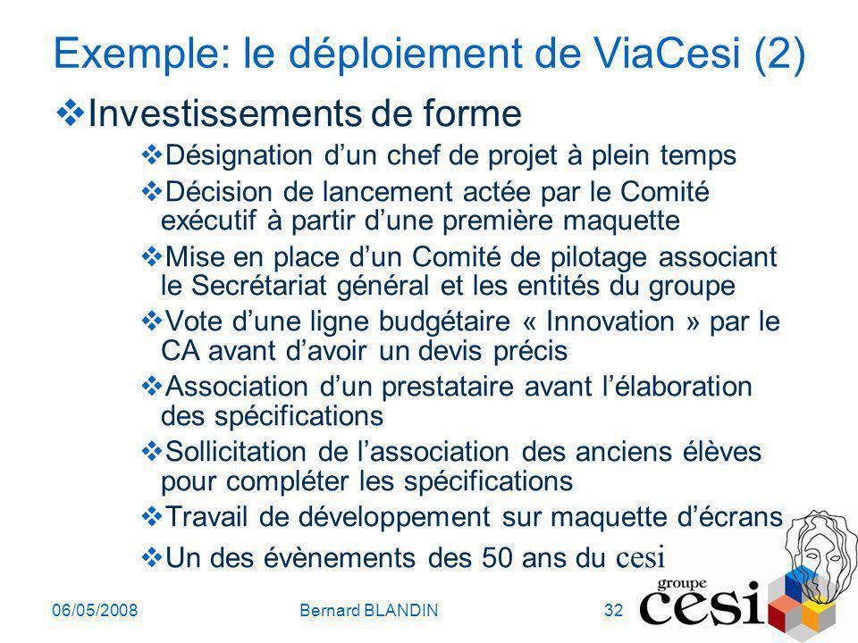 06/05/2008Bernard BLANDIN32 Exemple: le déploiement de ViaCesi (2) Investissements de forme Désignation dun chef de projet à plein temps Décision de l