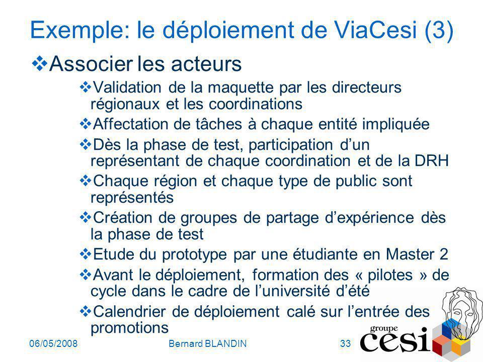 06/05/2008Bernard BLANDIN33 Exemple: le déploiement de ViaCesi (3) Associer les acteurs Validation de la maquette par les directeurs régionaux et les