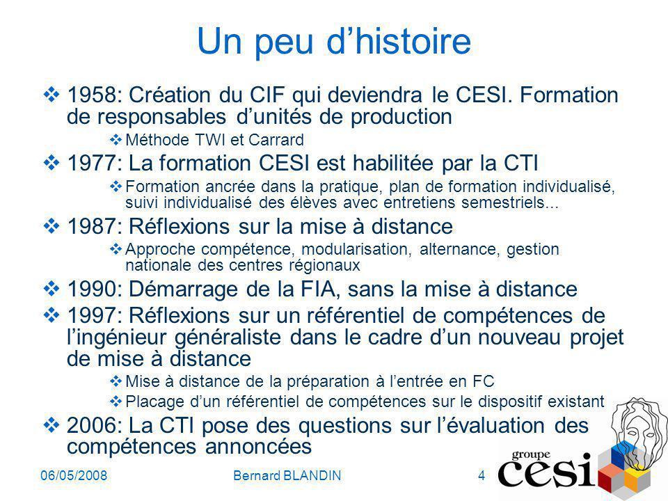 06/05/2008Bernard BLANDIN4 Un peu dhistoire 1958: Création du CIF qui deviendra le CESI. Formation de responsables dunités de production Méthode TWI e
