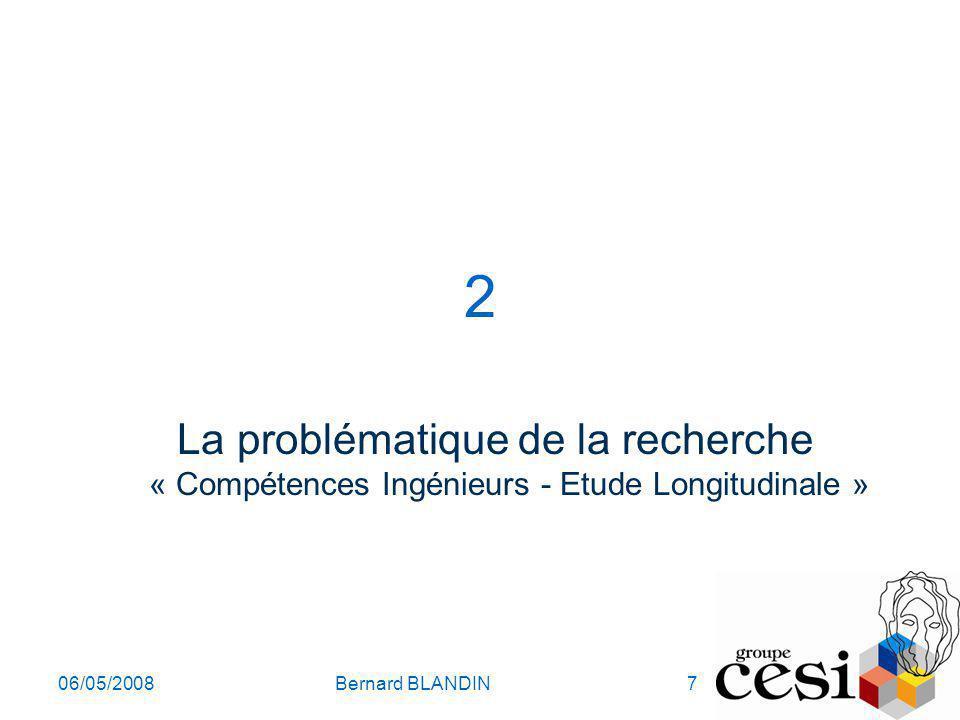 06/05/2008Bernard BLANDIN7 2 La problématique de la recherche « Compétences Ingénieurs - Etude Longitudinale »