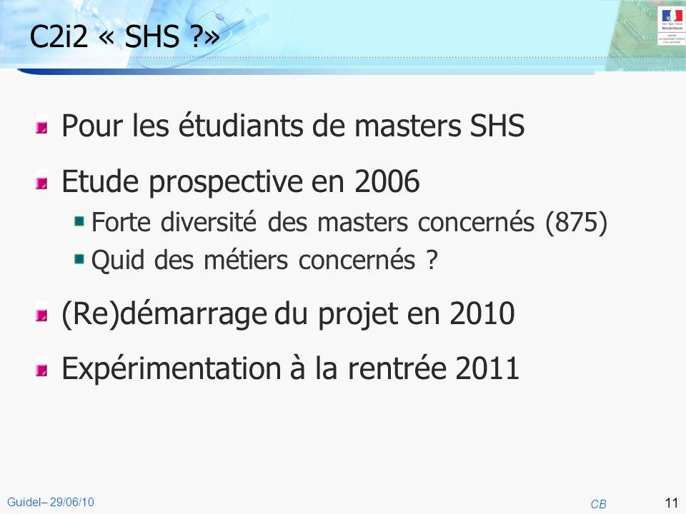 11 CB Guidel– 29/06/10 C2i2 « SHS ?» Pour les étudiants de masters SHS Etude prospective en 2006 Forte diversité des masters concernés (875) Quid des