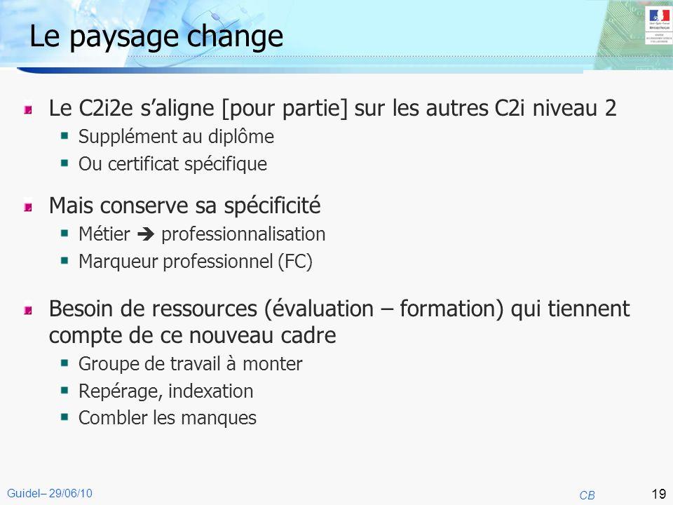 19 CB Guidel– 29/06/10 Le paysage change Le C2i2e saligne [pour partie] sur les autres C2i niveau 2 Supplément au diplôme Ou certificat spécifique Mai