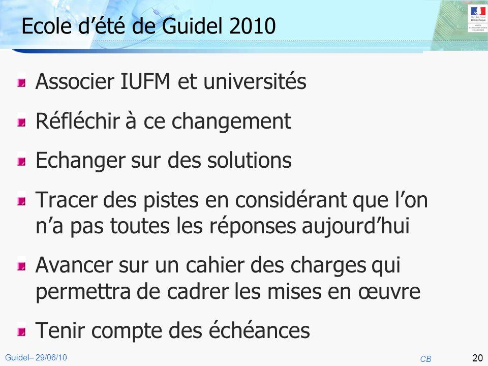20 CB Guidel– 29/06/10 Ecole dété de Guidel 2010 Associer IUFM et universités Réfléchir à ce changement Echanger sur des solutions Tracer des pistes e
