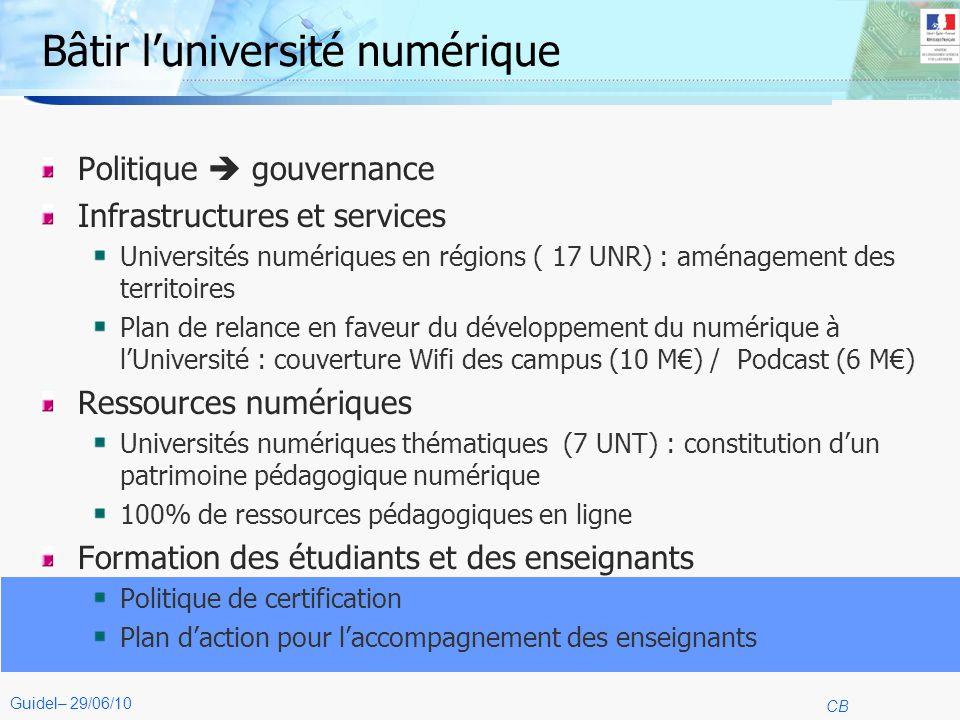 4 CB Guidel– 29/06/10 Bâtir luniversité numérique Politique gouvernance Infrastructures et services Universités numériques en régions ( 17 UNR) : amén