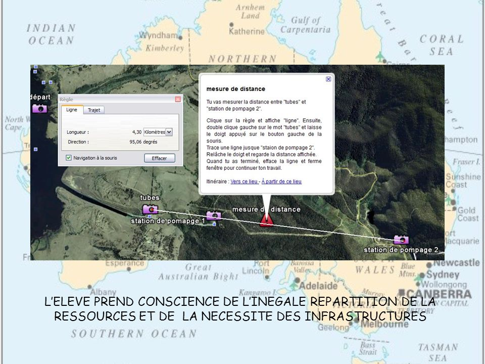 LELEVE PREND CONSCIENCE DE LINEGALE REPARTITION DE LA RESSOURCES ET DE LA NECESSITE DES INFRASTRUCTURES
