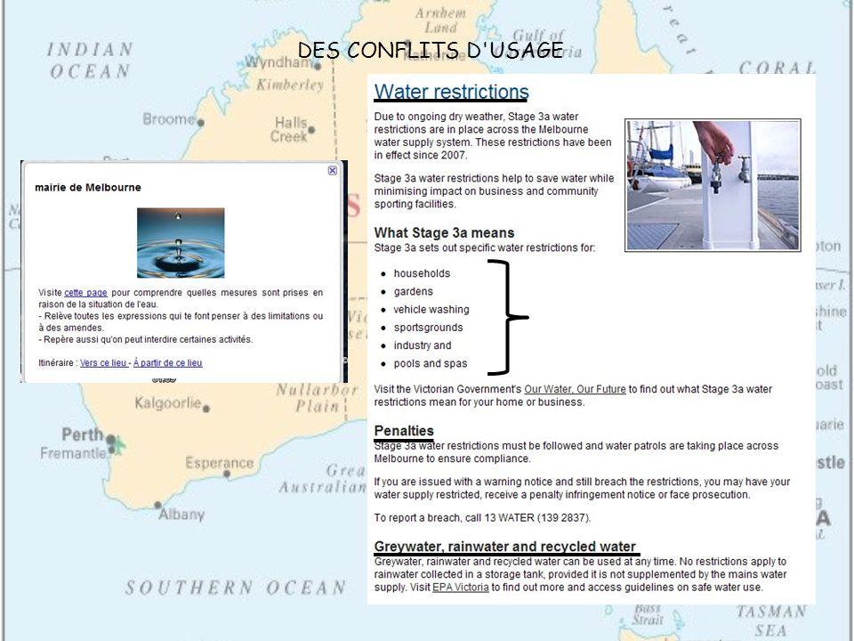 DES CONFLITS D USAGE