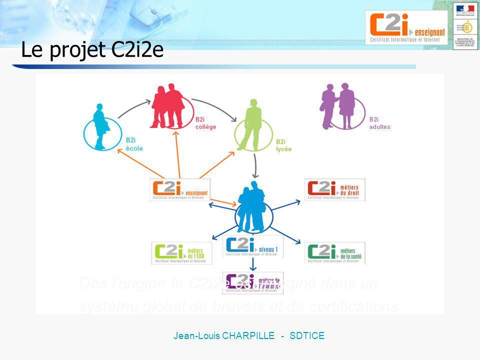 6 Jean-Louis CHARPILLE - SDTICE Le projet C2i2e Les représentants de toutes structures concernées à plus ou moins long terme participent aux travaux Le comité de pilotage CDIUFM : 2 / CPU : 1 / DES : 2 / DESCO : 1 / IGEN : 1 / DT-SDTICE : 2 Le groupe dexperts CDIUFM : 2 / enseignants-chercheurs : 2 / formateurs IUFM : 2 / IEN 1 er degré : 2 / IA IPR : 2 / expert DT : 1