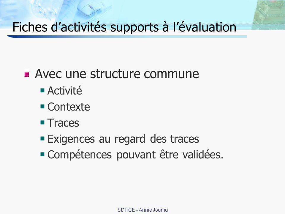 10 SDTICE - Annie Journu Fiches dactivités supports à lévaluation Avec une structure commune Activité Contexte Traces Exigences au regard des traces Compétences pouvant être validées.