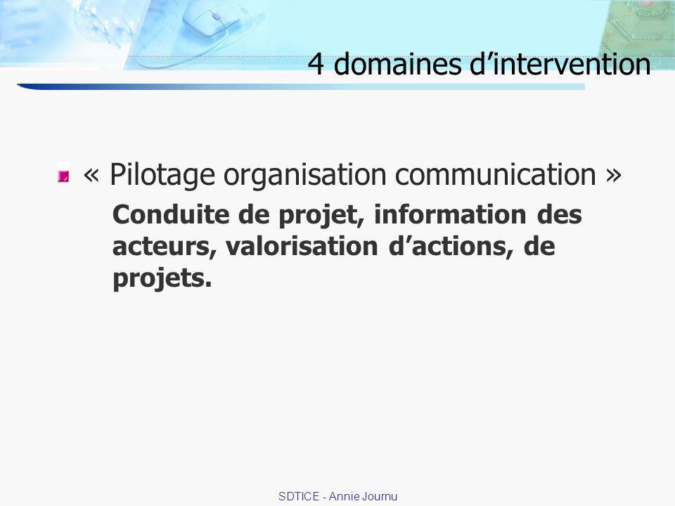 13 SDTICE - Annie Journu 4 domaines dintervention « Pilotage organisation communication » Conduite de projet, information des acteurs, valorisation dactions, de projets.