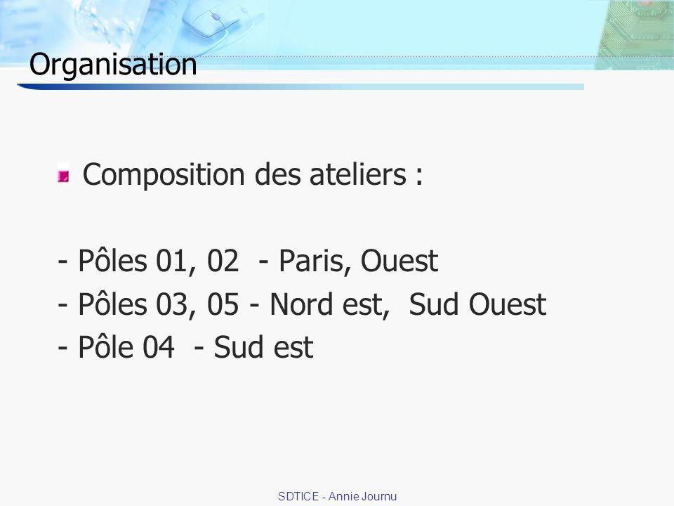19 SDTICE - Annie Journu Organisation Composition des ateliers : - Pôles 01, 02 - Paris, Ouest - Pôles 03, 05 - Nord est, Sud Ouest - Pôle 04 - Sud est