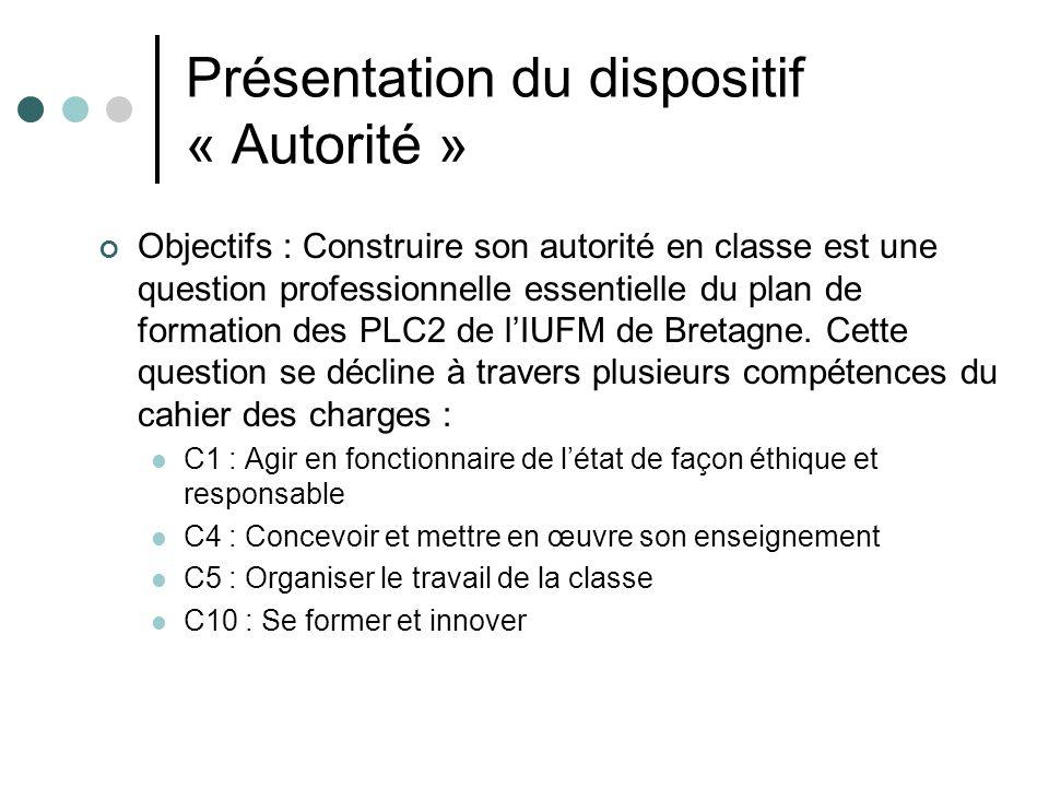 Présentation du dispositif « Autorité » Objectifs : Construire son autorité en classe est une question professionnelle essentielle du plan de formation des PLC2 de lIUFM de Bretagne.