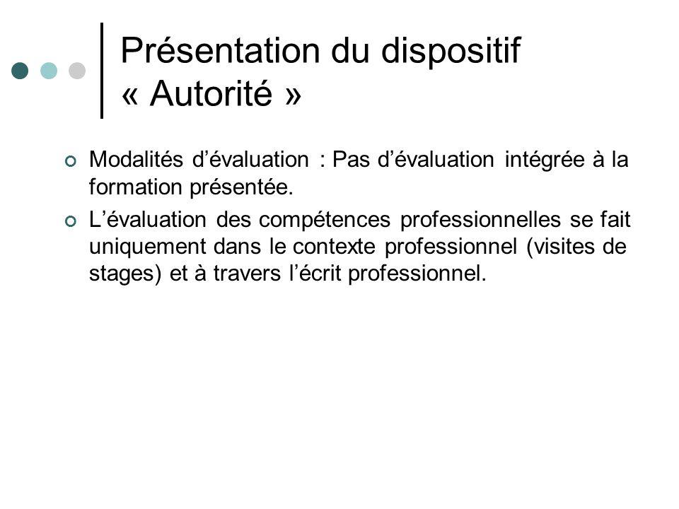 Présentation du dispositif « Autorité » Modalités dévaluation : Pas dévaluation intégrée à la formation présentée.
