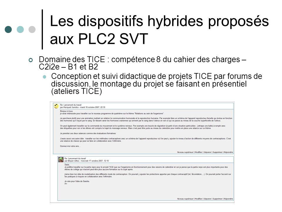 Les dispositifs hybrides proposés aux PLC2 SVT Domaine des TICE : compétence 8 du cahier des charges – C2i2e – B1 et B2 Conception et suivi didactique de projets TICE par forums de discussion, le montage du projet se faisant en présentiel (ateliers TICE)