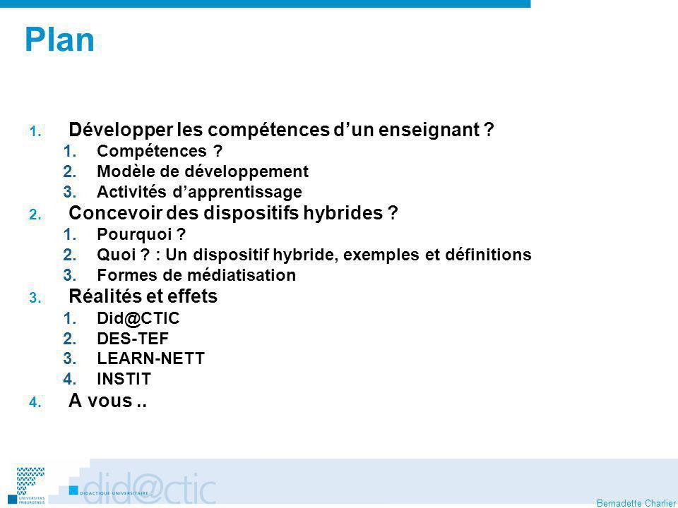 Bernadette Charlier 1.1.Développer les compétences dun enseignant : une compétence .