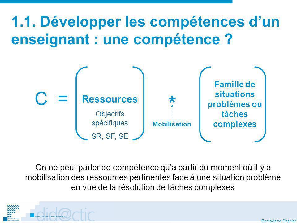 Bernadette Charlier 1.1.Développer les compétences dun enseignant : quelles compétences .
