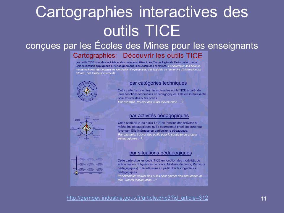 11 Cartographies interactives des outils TICE conçues par les Écoles des Mines pour les enseignants http://gemgev.industrie.gouv.fr/article.php3 id_article=312