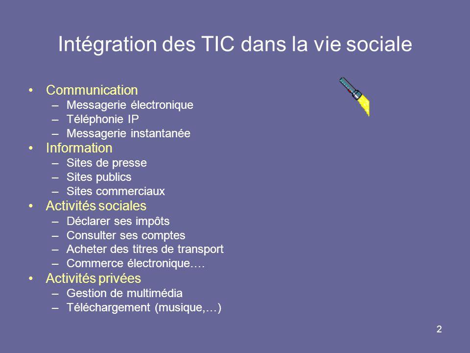 2 Intégration des TIC dans la vie sociale Communication –Messagerie électronique –Téléphonie IP –Messagerie instantanée Information –Sites de presse –