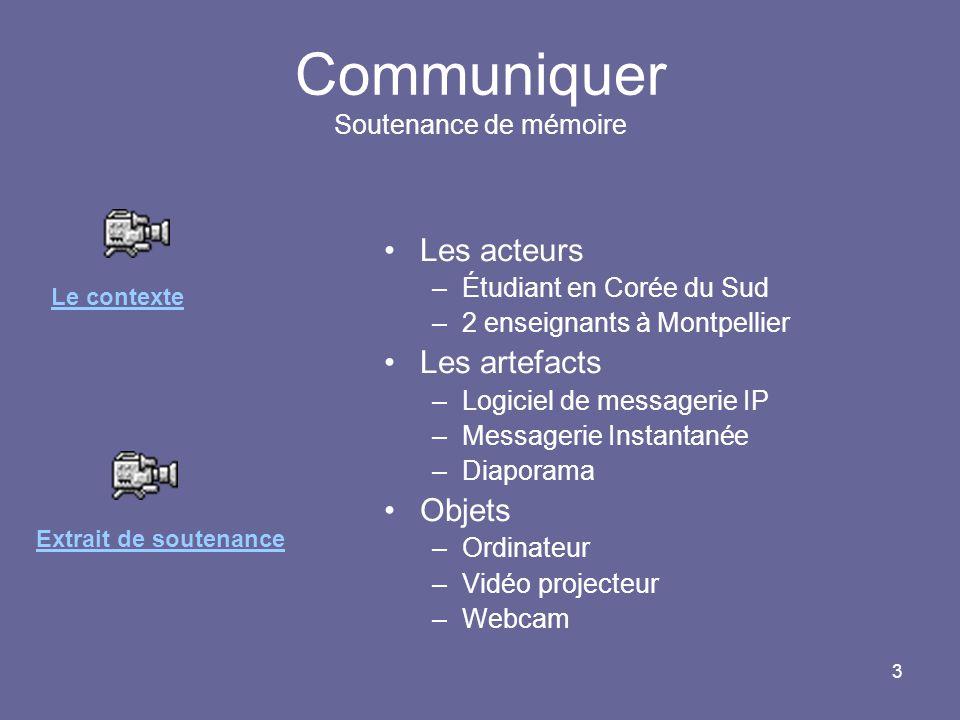 3 Communiquer Soutenance de mémoire Les acteurs –Étudiant en Corée du Sud –2 enseignants à Montpellier Les artefacts –Logiciel de messagerie IP –Messa