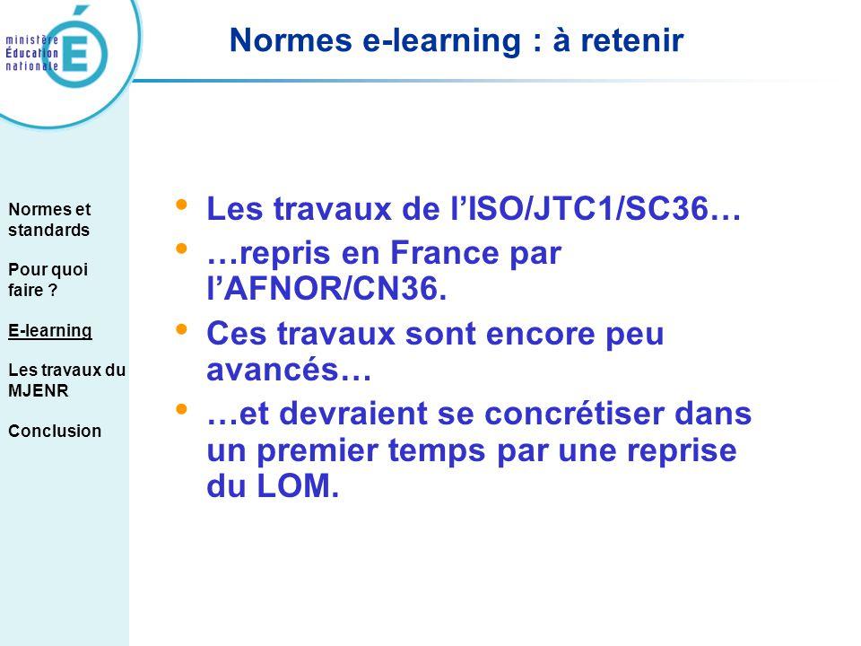 Normes e-learning : à retenir Les travaux de lISO/JTC1/SC36… …repris en France par lAFNOR/CN36. Ces travaux sont encore peu avancés… …et devraient se