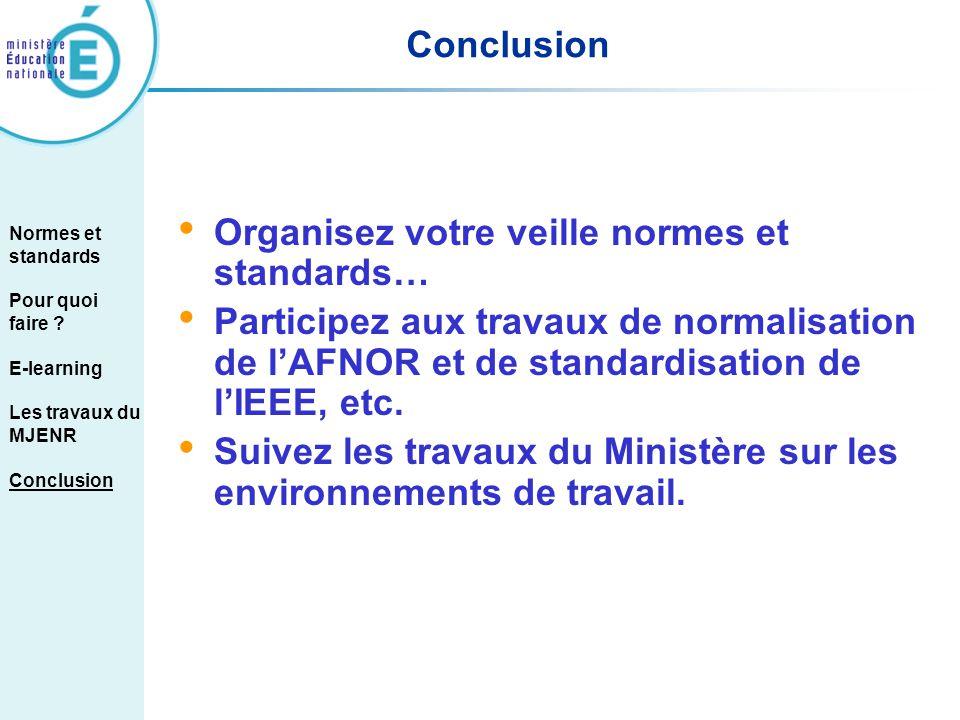 Organisez votre veille normes et standards… Participez aux travaux de normalisation de lAFNOR et de standardisation de lIEEE, etc. Suivez les travaux